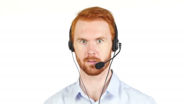 Call center operator man with headsets working ,Customer service agent
