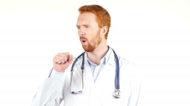 Portrait of doctor having cough