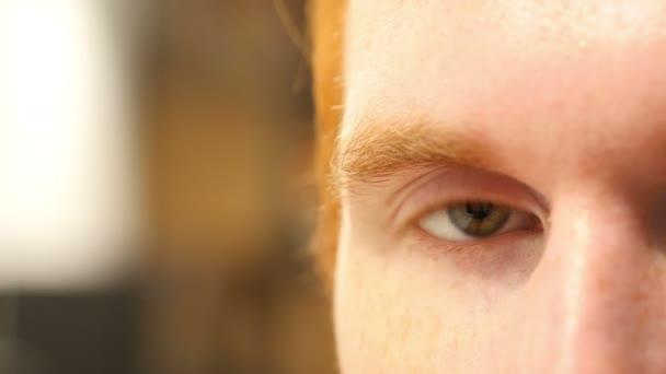 Detailní záběr oka člověka, obličej, makro