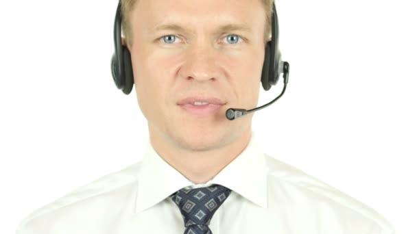 Portrét operátor Call centra, usmíval se Agent
