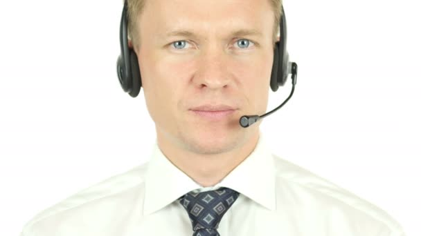 Call Center Operator Working, Talking with Clients, Customer Service