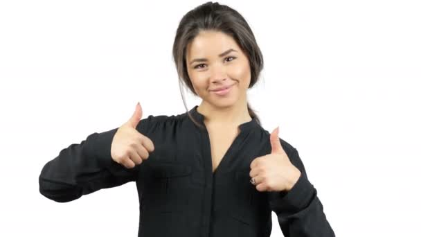 Gorgeous Young Brunette Girl Thumbs Up, Excitement, Success,Best Results Gesture
