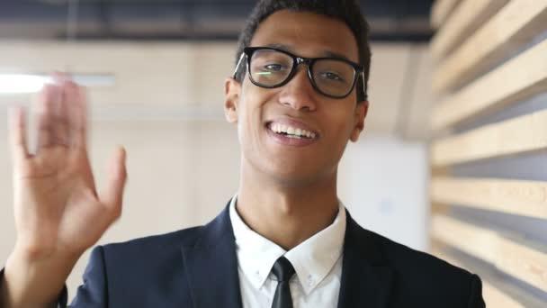 Online Video Conference Black Businessman, Web Cam View Portrait