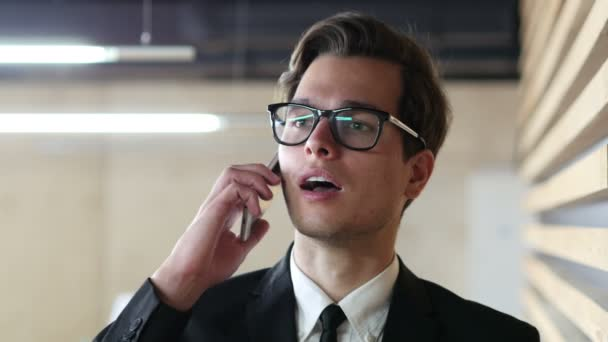 Young Businessman Talking on Phone, Discussing Project, Portrait