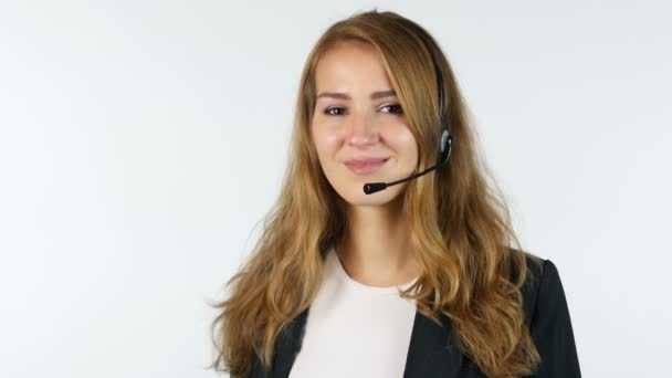 Portrait Of Call Center Girl Showing Thumbs Up , White background