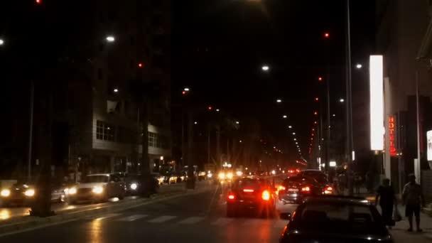 Night life the Main street of Durres, Albania,