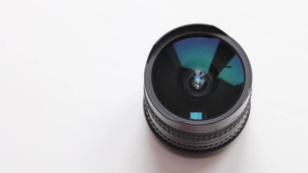 Photo lenses on white background