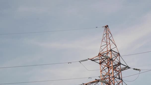 Power lines. The evening of the pylon outline