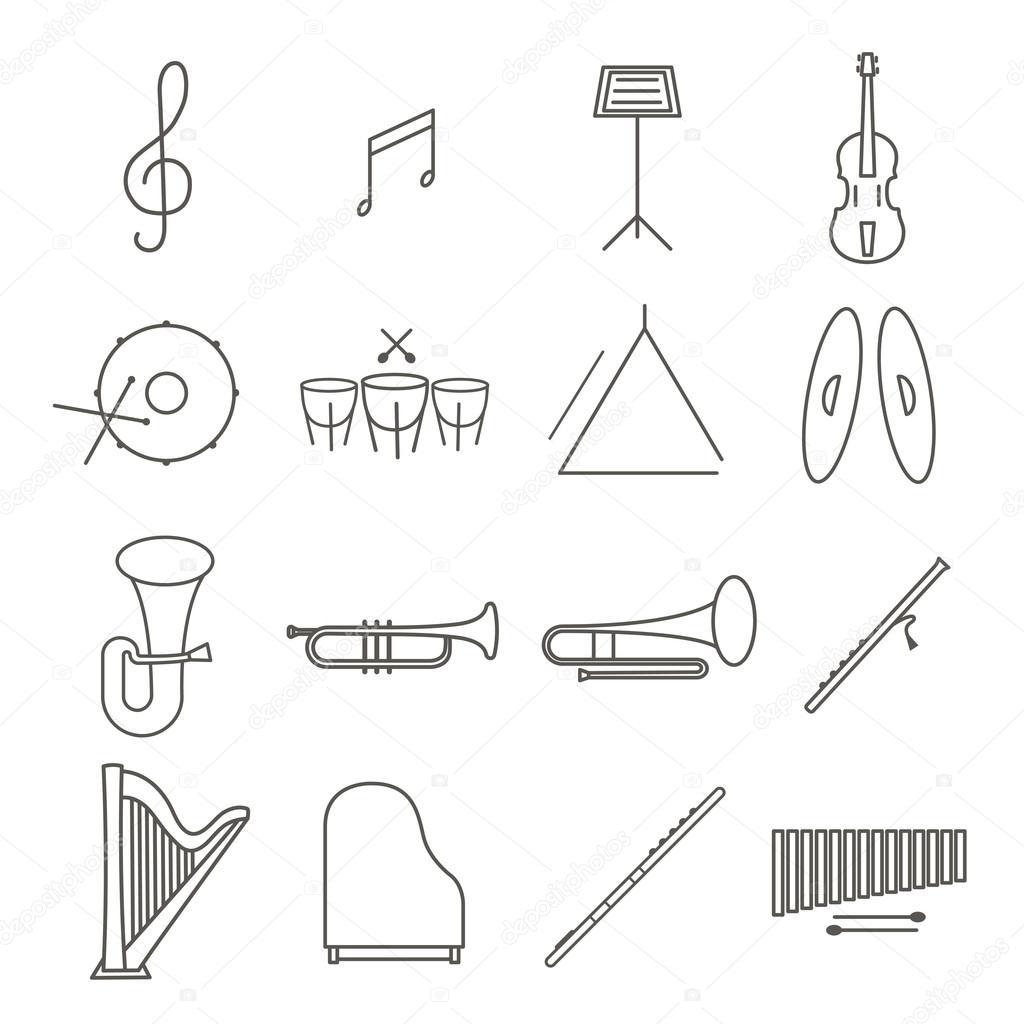 音楽楽器細い線ベクトル アイコンを設定ヴァイオリンピアノドラム