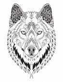 Photo Gray wolf head zentangle stylized, vector, illustration, freehand pencil, hand drawn, pattern. Zen art. Ornate vector.