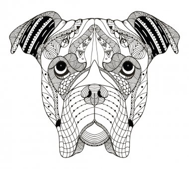 Boxer dog head zentangle stylized, vector, illustration, freehand pencil, hand drawn, pattern. Zen art. Ornate vector.
