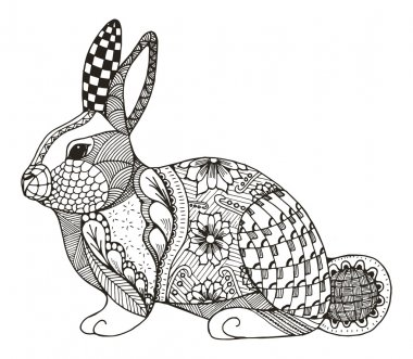 Rabbit zentangle stylized, vector, illustration, pattern, freehand pencil, hand drawn. Zen art. Ornate vector.