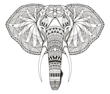 Elephant head zentangle stylized, vector, illustration, freehand pencil, hand drawn, pattern. Zen art. Ornate vector.