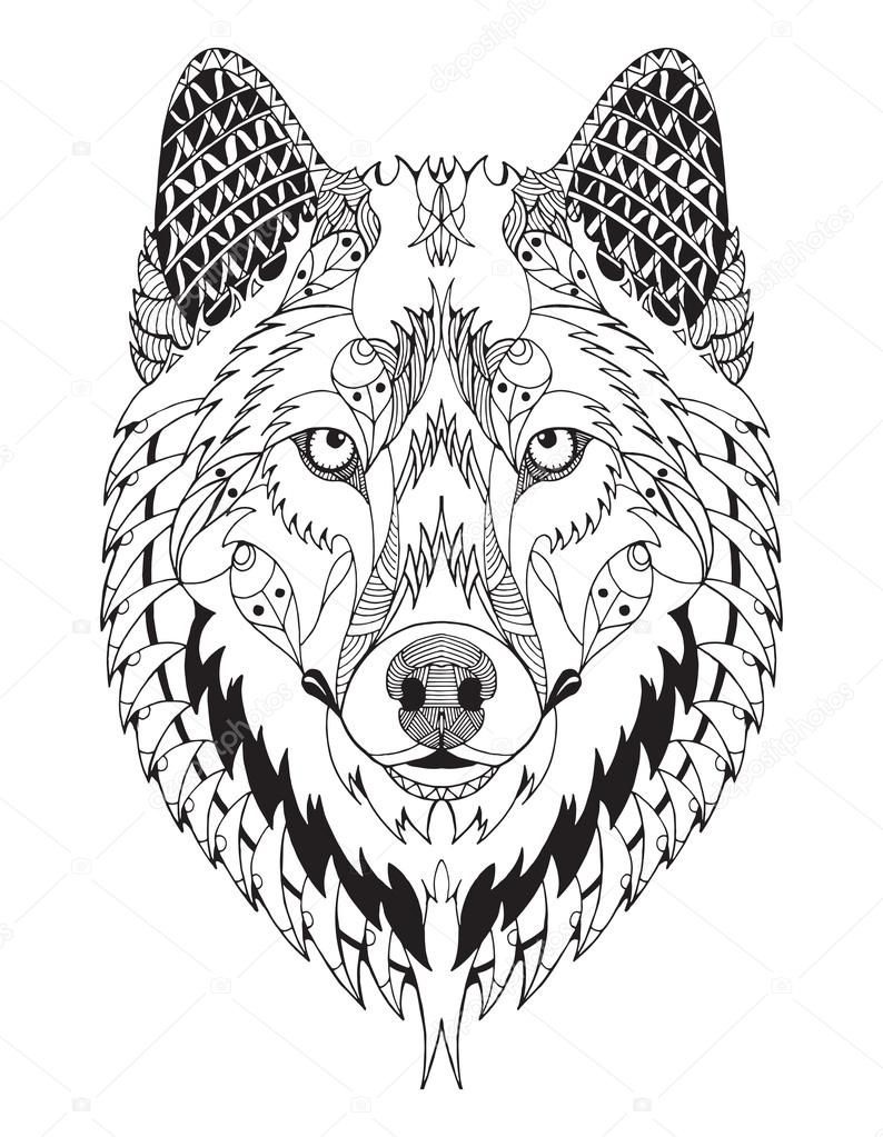 Vector Lobo Mandala Lobo Gris Zentangle Cabeza Estilizada Vector