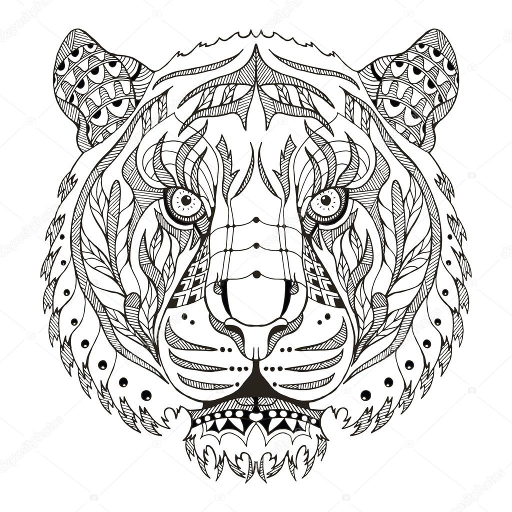 Tiger head zentangle stylized vector illustration - Mandalas de tigres ...