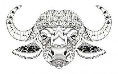 African buffalo head zentangle stylized, vector, illustration, freehand pencil, hand drawn, pattern. Zen art. Ornate vector. Lace. Coloring.