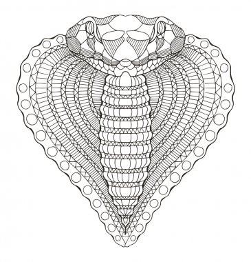 Cobra snake heart shape head zentangle stylized, vector, illustration, freehand pencil, hand drawn, pattern.
