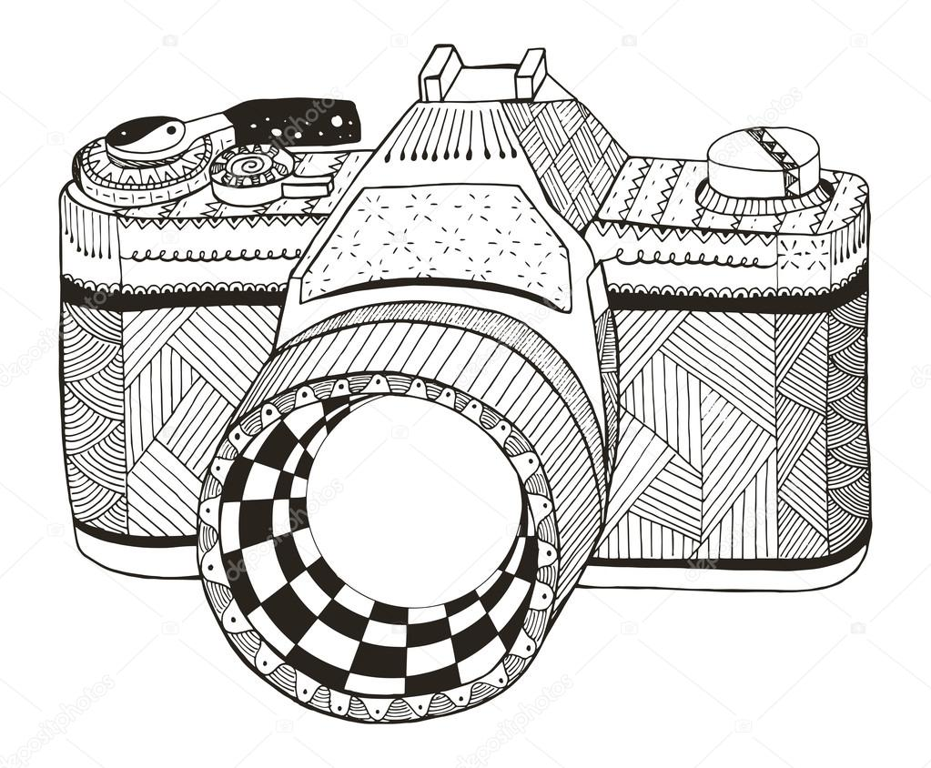 Retro Photo Camera Zentangle Stylized Vintage Freehand Pencil Hand Drawn Vector Illustration Pattern Print For T Shirts By RomanRoki