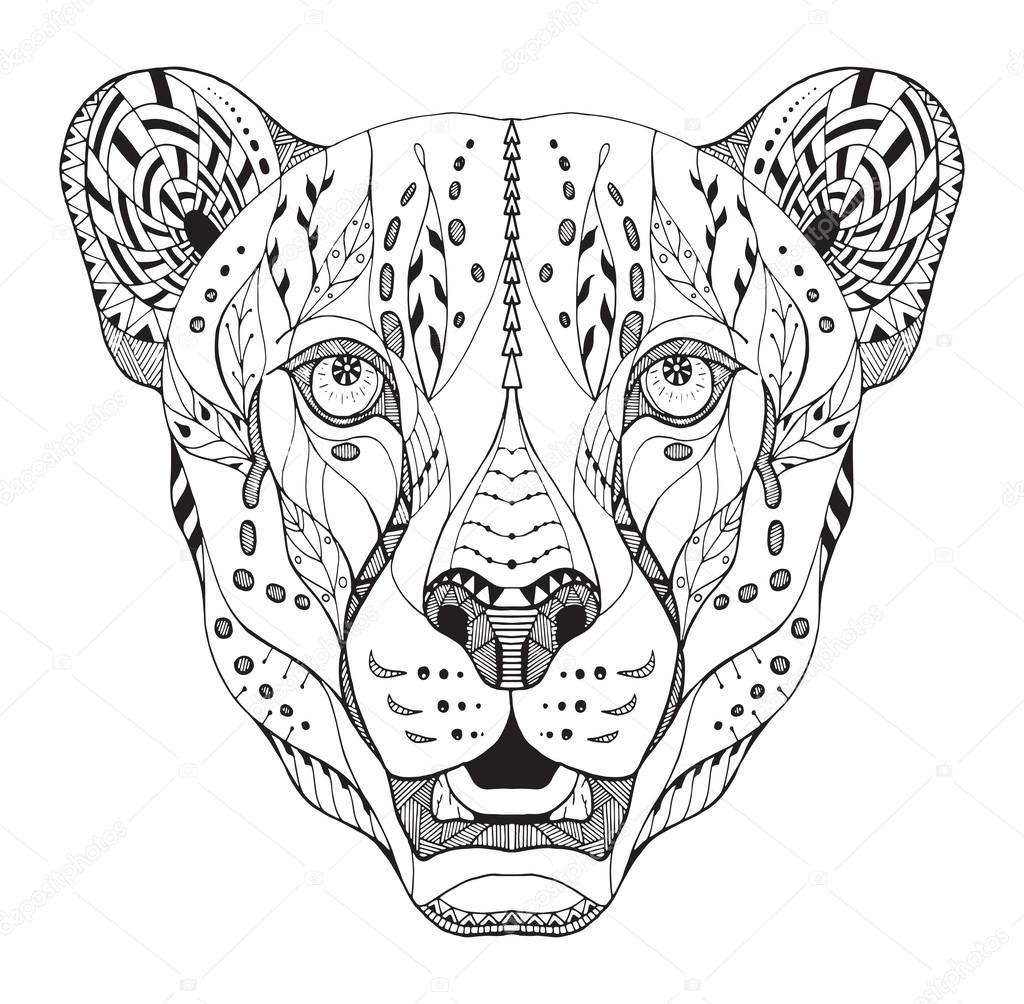 Cheetah Zen Coloring Pages