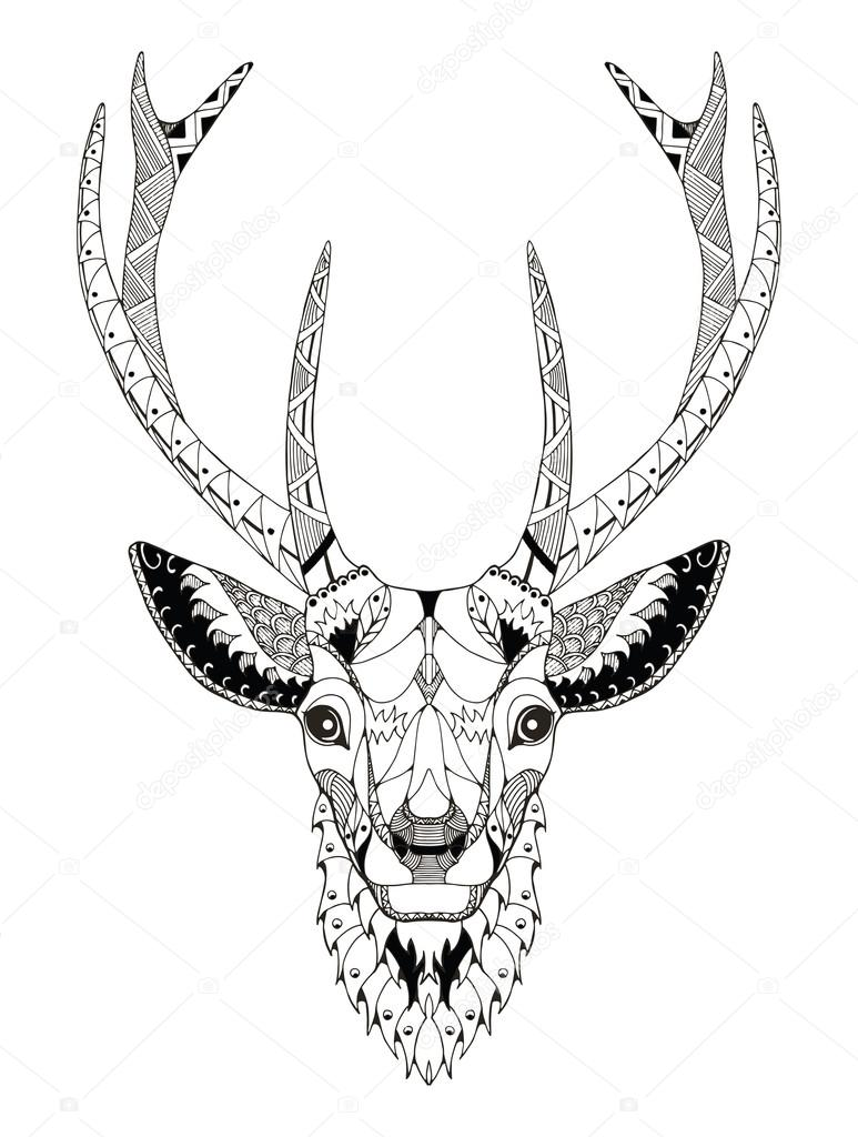 Deer head zentangle stylized, vector, illustration, freehand pencil, hand drawn, pattern. Zen art. Ornate vector. Lace.