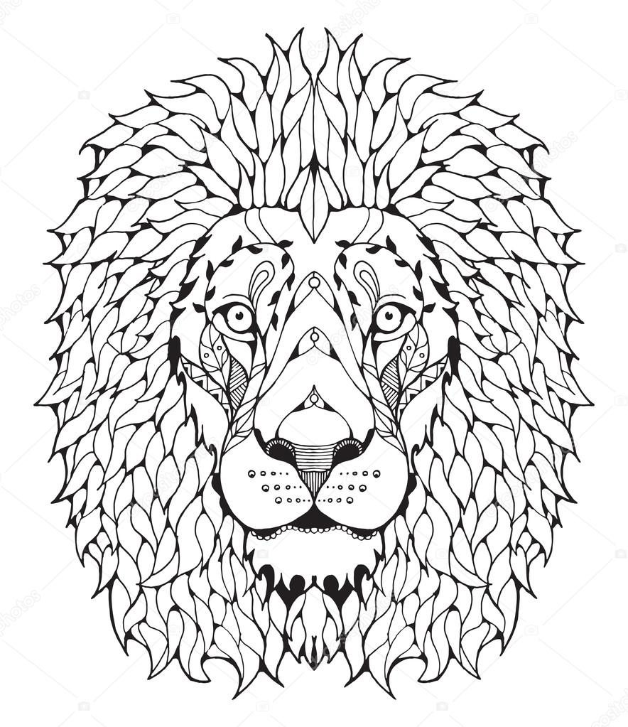 Lion Head Outline Images : If you like, you can download pictures in icon format or directly in png image format.