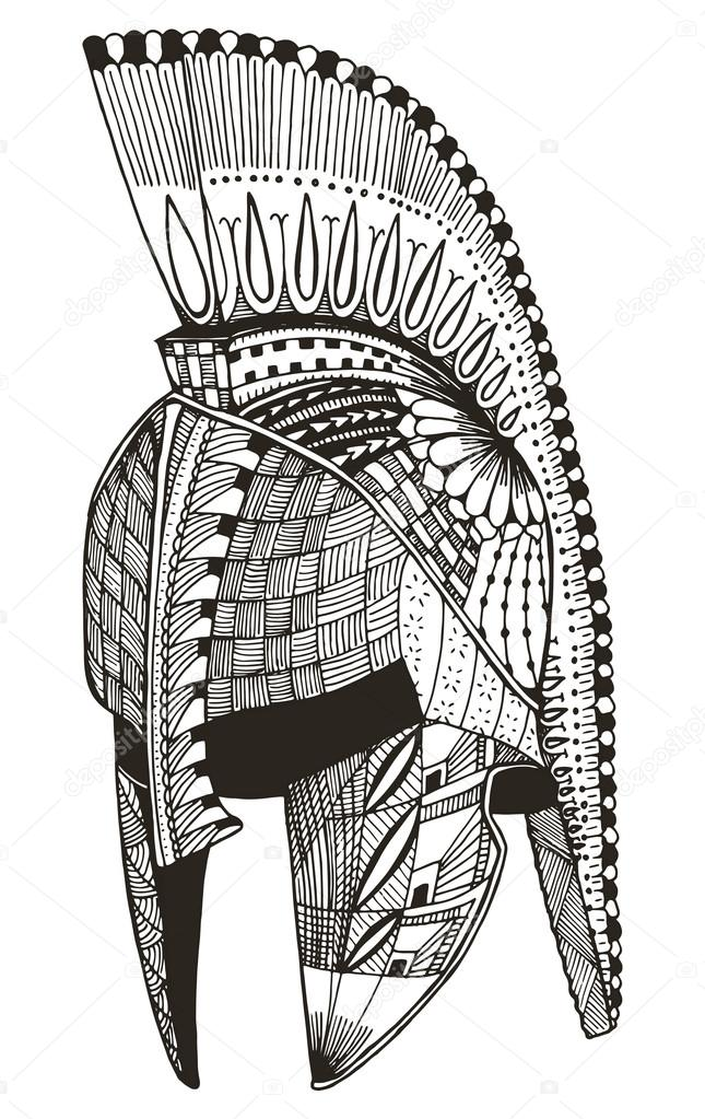 Spartan Helmet Zentangle Stylized Vector Illustration Pattern