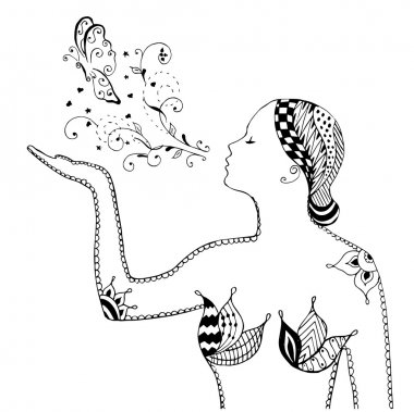 Zentangle style, swirl, girl blowing butterfly, flowers, vector, illustration, freehand pencil. Pattern. Zen art.