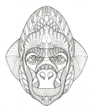Gorilla head zentangle stylized, vector, illustration, freehand pencil, hand drawn, pattern.