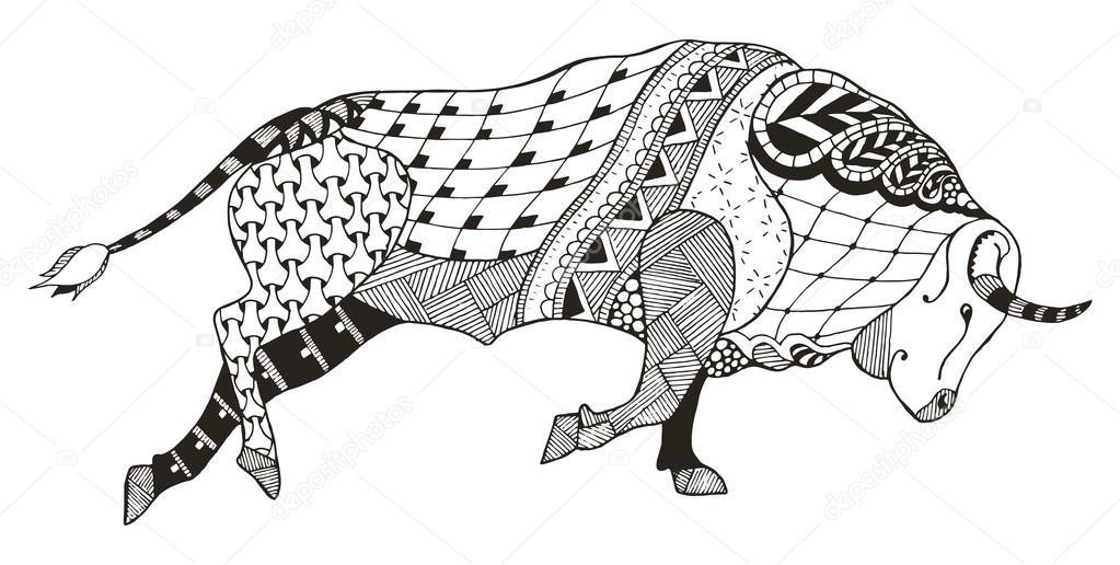 5eebf7d62e0 Taureau. Vector illustration. Zentangle stylisé. Horoscope. Modèle. Dessiné  à la main. crayon Freehand– illustration de stock