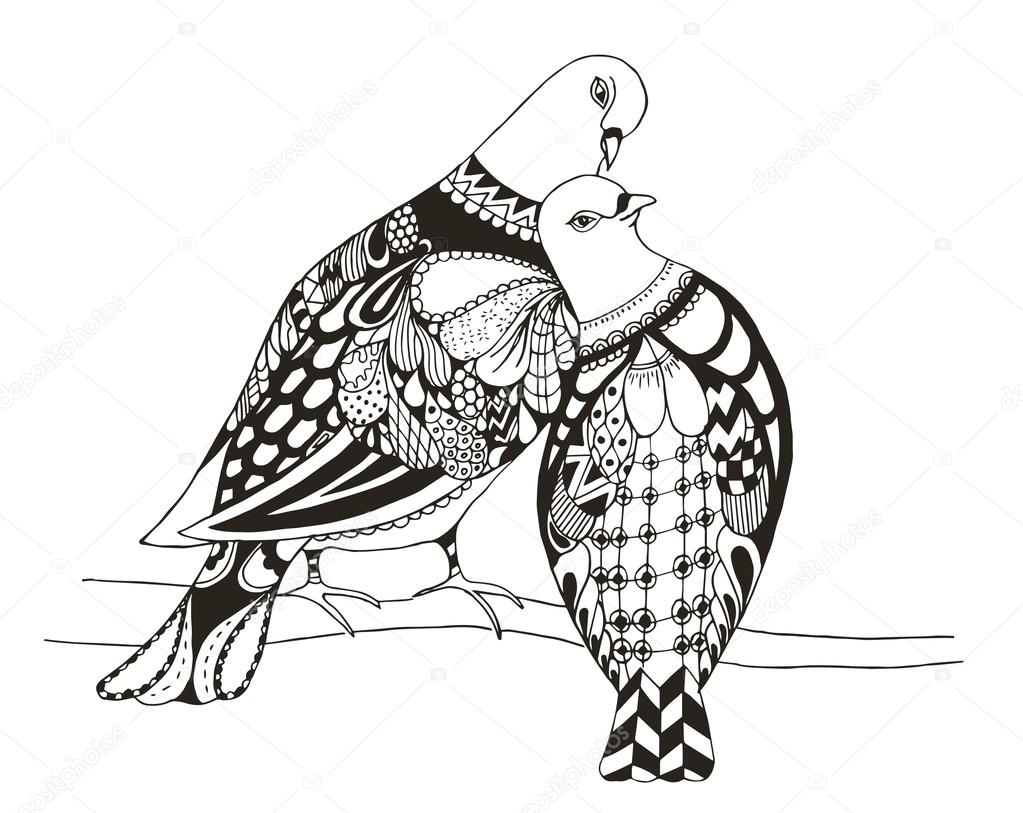 Two birds are sitting on a tree branch, zentangle stylized pigeons, vector, illustration, freehand pencil, love. Zen art.