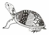 Photo Turtle zentangle stylized. vector, illustration, freehand pencil. Pattern. Zen art.l