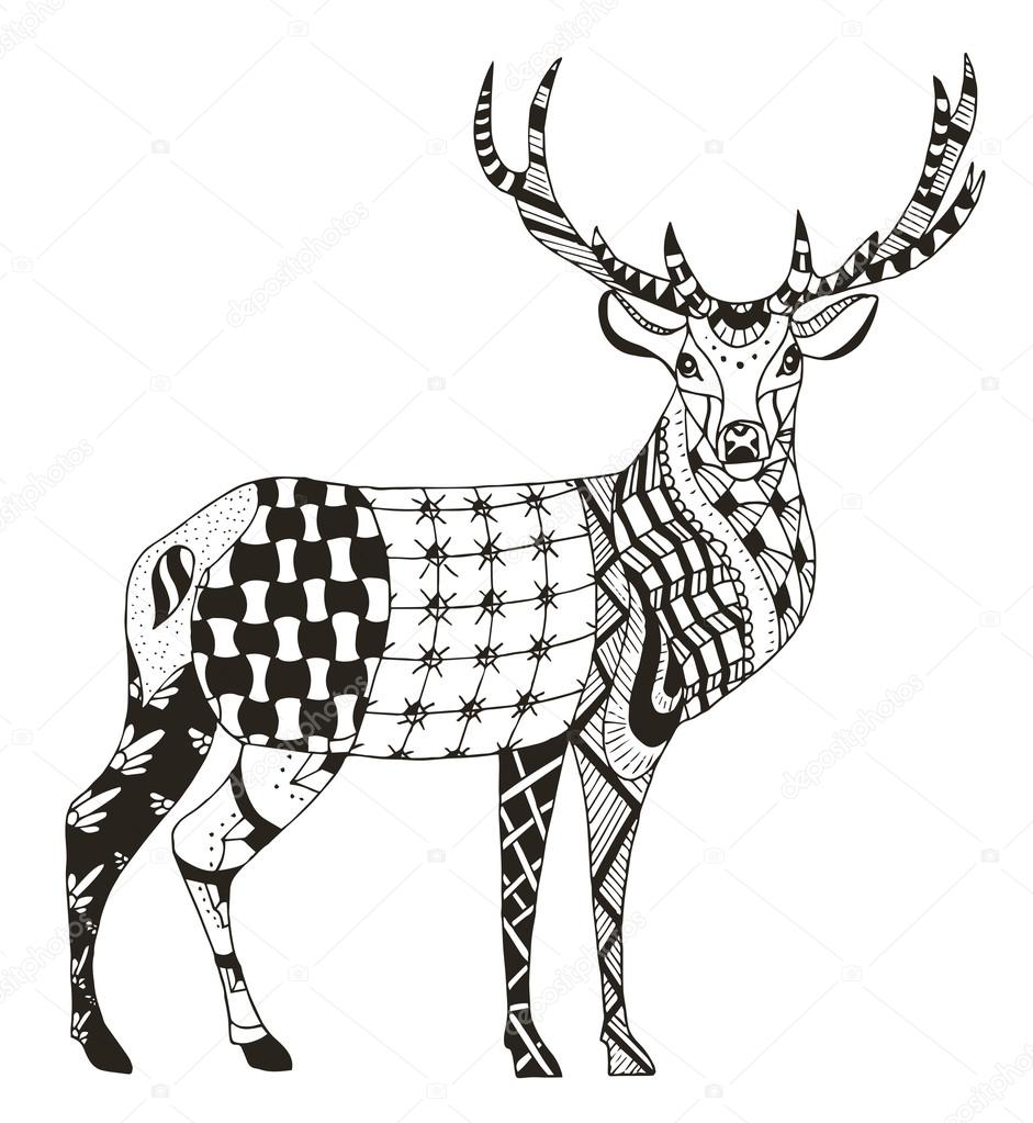 Artistically hand drawn zentangle stylized deer vector illustration pattern freehand pencil lace zen art print for coloring books and t shirts
