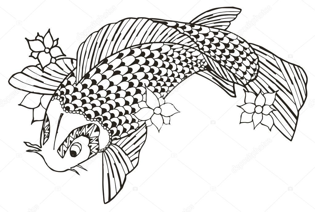 Zentangle estilizado pez koi, vector, Ilustración, lápiz a mano ...