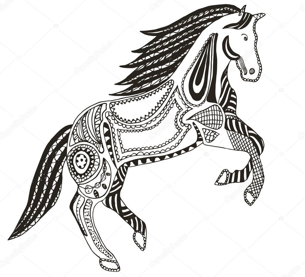 Zentangle estilizado caballo, Remolino, Ilustración, vector, lápiz a ...