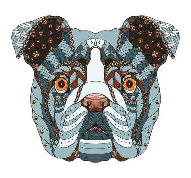 English bulldog head zentangle stylized, vector, illustration, freehand pencil, hand drawn, pattern. Zen art. Ornate vector. Lace.