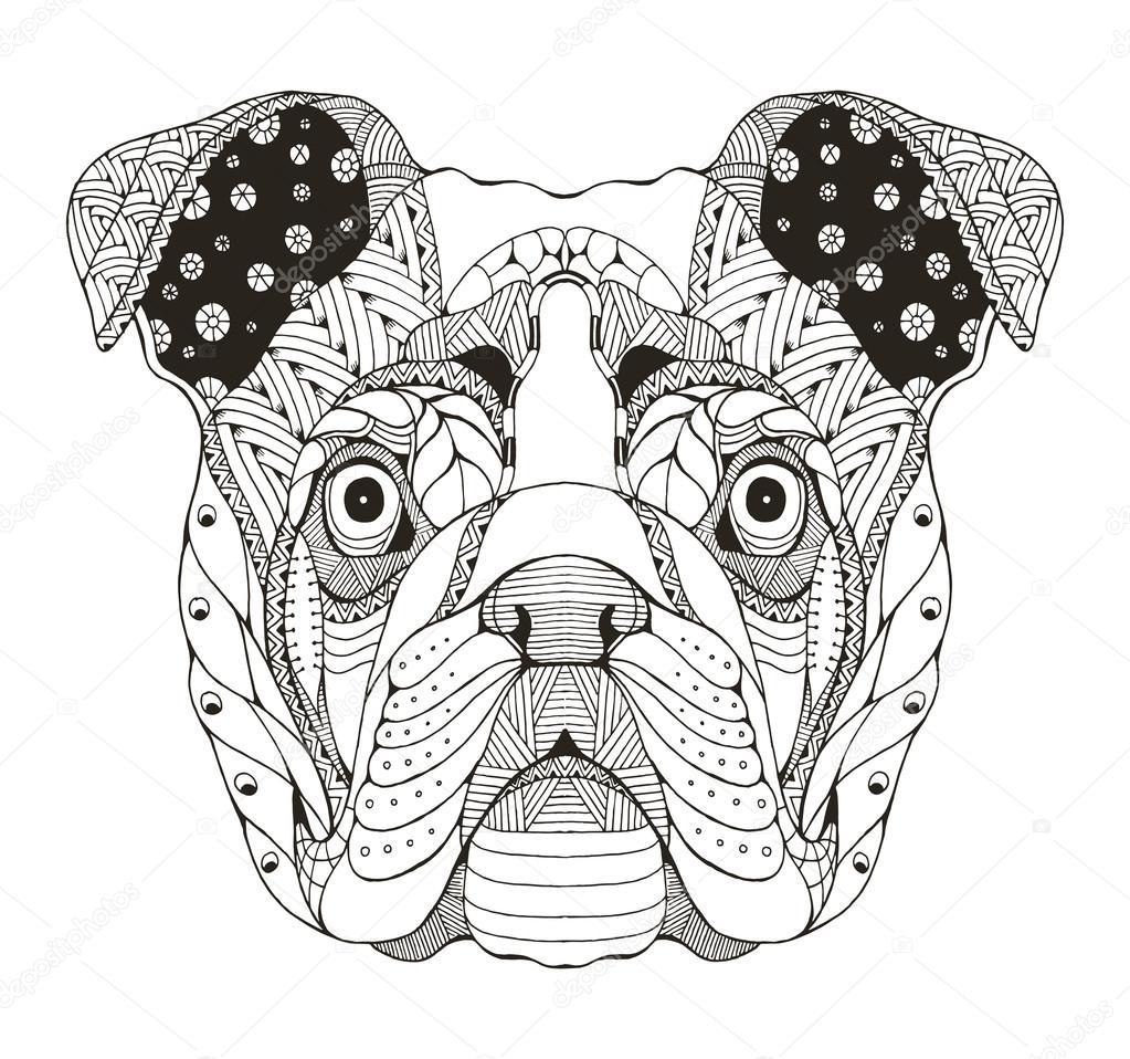 Russian buldog head zentangle stylized, vector ...