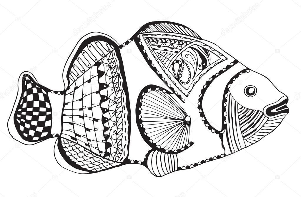 Clownfish zentangle stylized, vector, illustration, freehand pencil ...