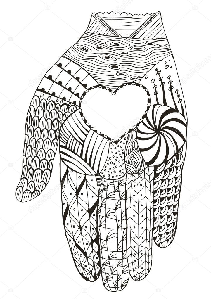 Hand holding heart zentangle stylized, vector, illustration