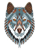 Photo Gray wolf head zentangle stylized, vector, illustration, freehand pencil, hand drawn, pattern. Zen art. Ornate vector. Color.