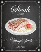 Fényképek Vintage steak house menu poster design, chalkboard background, freehand.