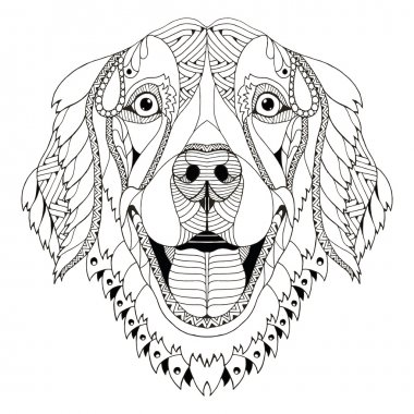 Golden retriever dog zentangle stylized head, freehand pencil, hand drawn, pattern. Zen art. Ornate vector.