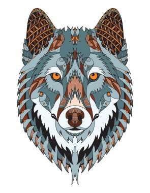 Gray wolf head zentangle stylized, vector, illustration, freehand pencil, hand drawn, pattern. Zen art. Ornate vector. Color.