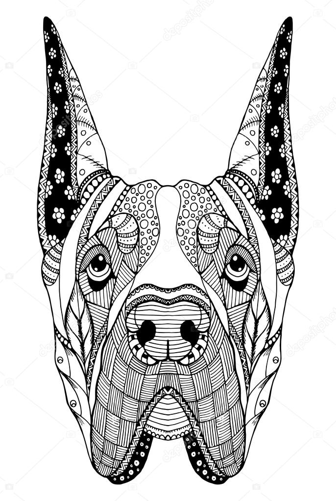 Deutsche Dogge Hund Zentangle stilisierte Kopf, Freihand Bleistift ...