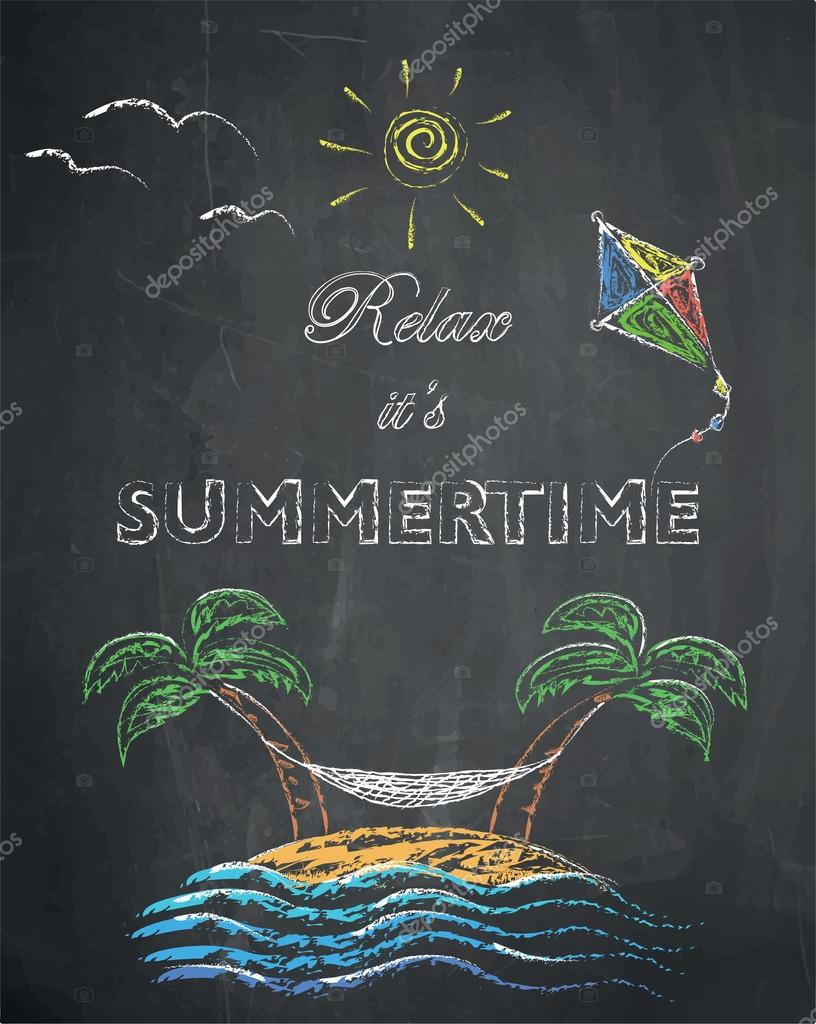 Relax it's summertime - palm trees, beach, kite, swing net, sun and sea on chalkboard background.
