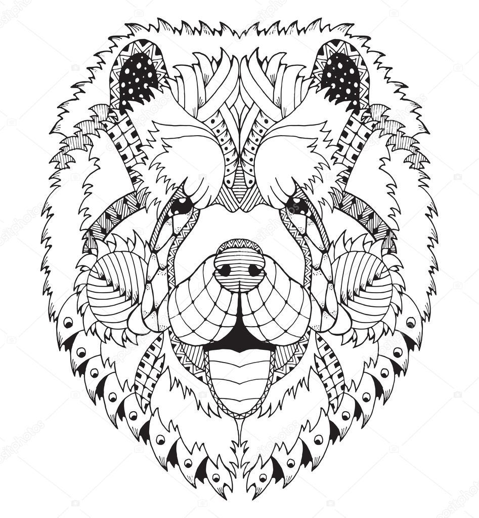 Kleurplaten Mandala Hond.Chow Chow Hond Zentangle Gestileerd Hoofd Freehand Potlood Hand