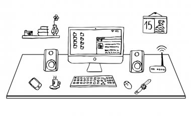Flat design office desk, freehand drawing, vector, illustration.