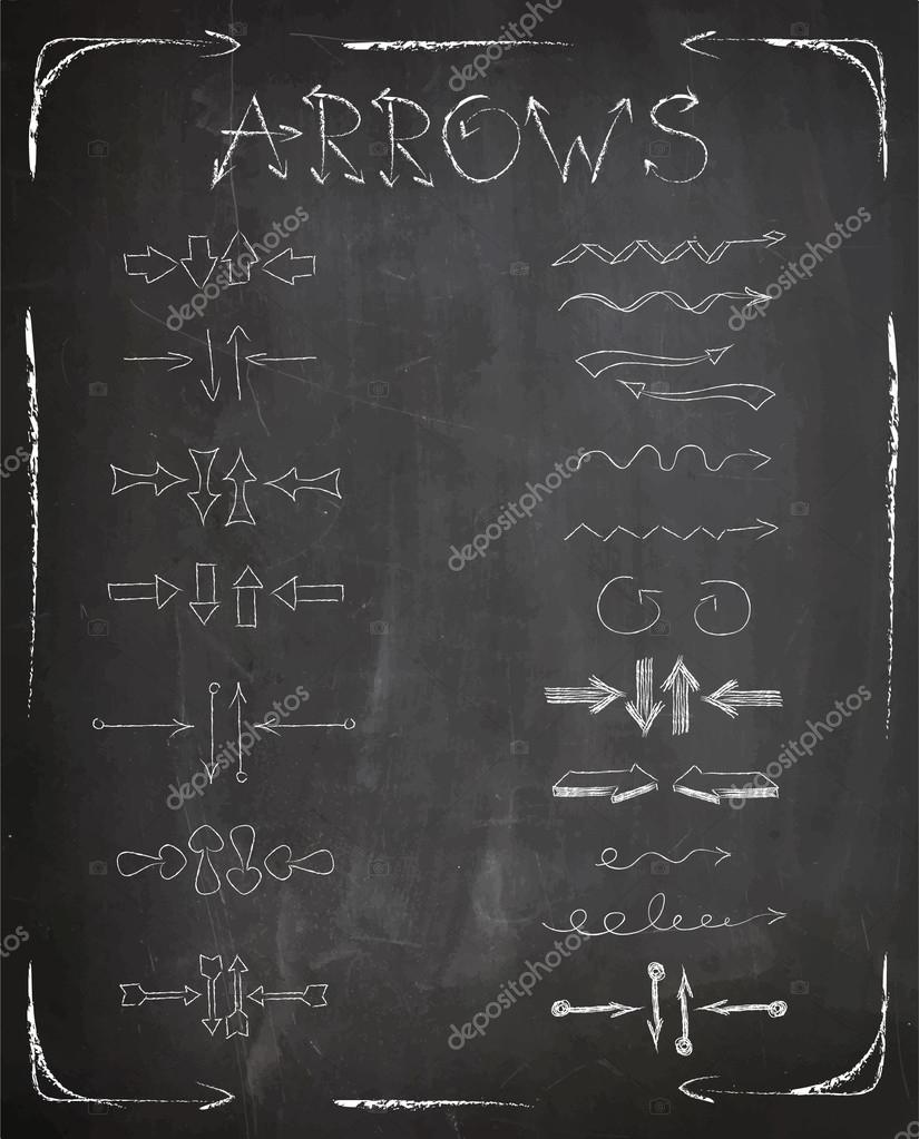 Set Of Arrows On Chalkboard Background Freehand Drawing Vector Stock