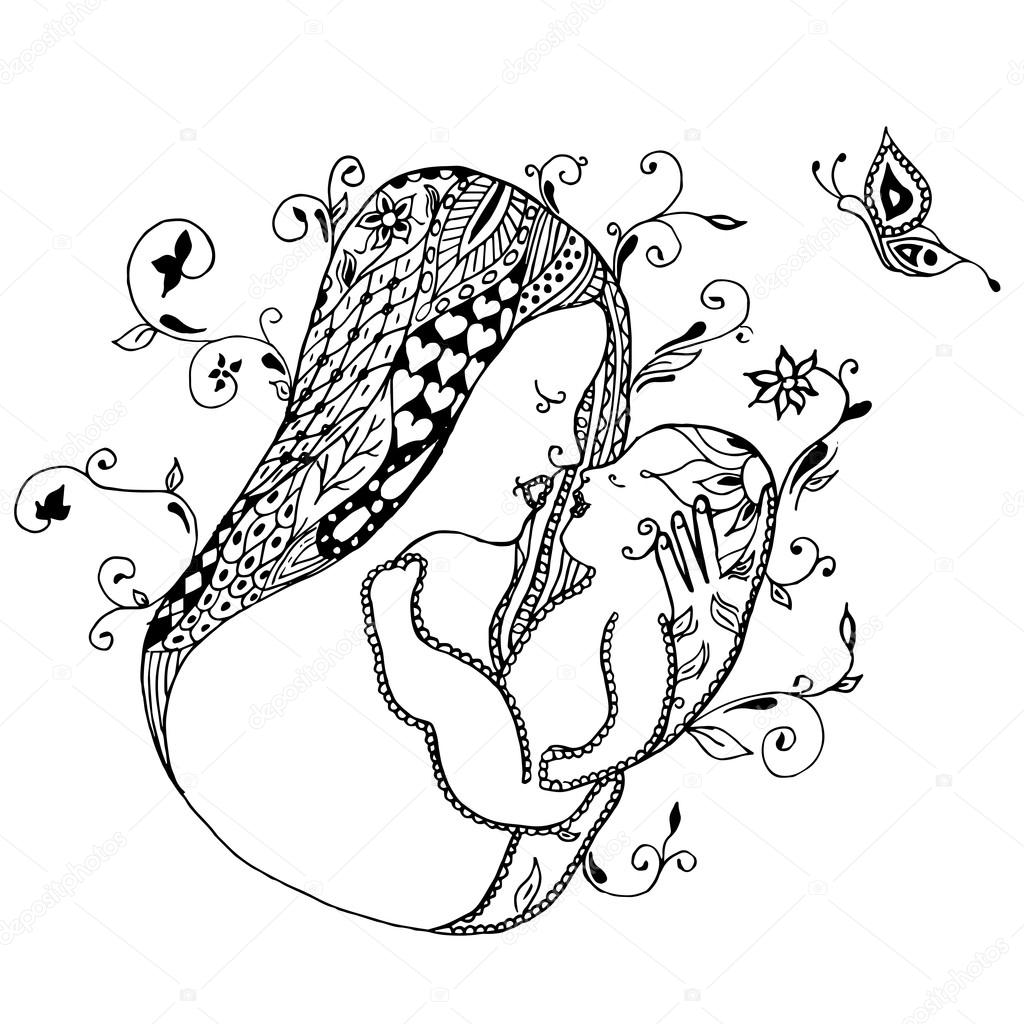 Mother holding baby freehand drawing swirl flowers butterfly