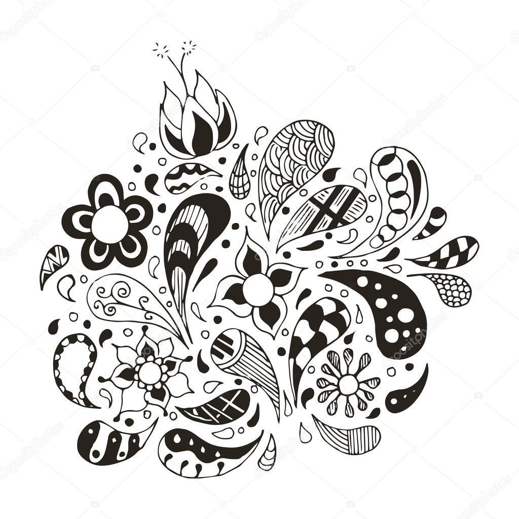 Doodles, zentangle stylized, vector, illustration, pattern, freehand pencil, flowers, petals, pattern