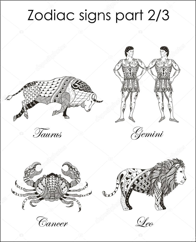 Zodiac signs taurus gemini cancer leo part two zentangle gemini cancer leo part two zentangle stylized biocorpaavc Images